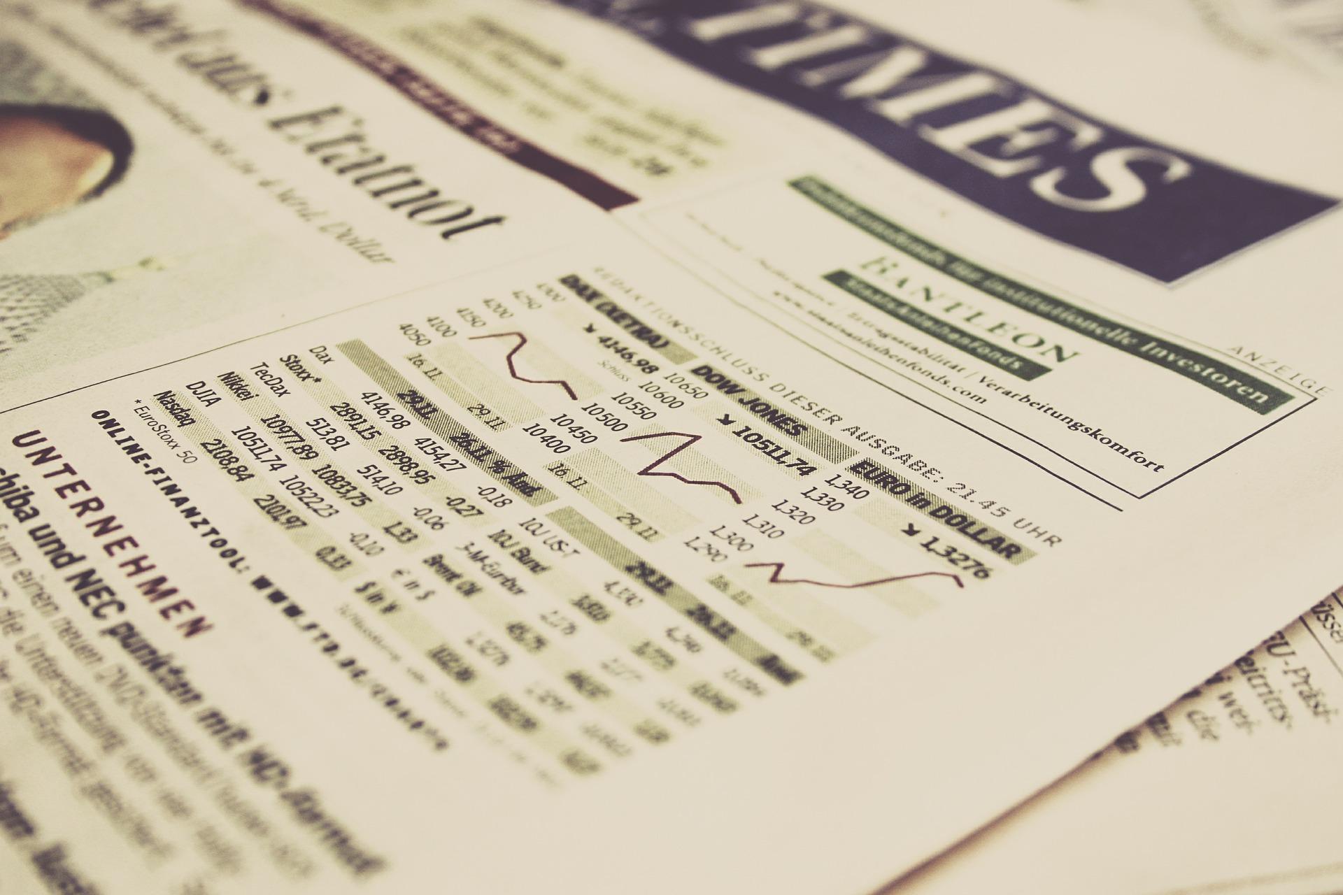 Das Bild stellt einen Auszug des Wirtschaftsteils aus einer Zeitung dar
