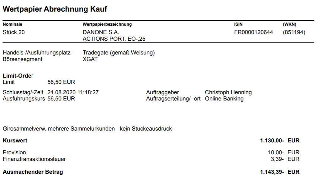 Abrechnung vom Kauf von Danone.