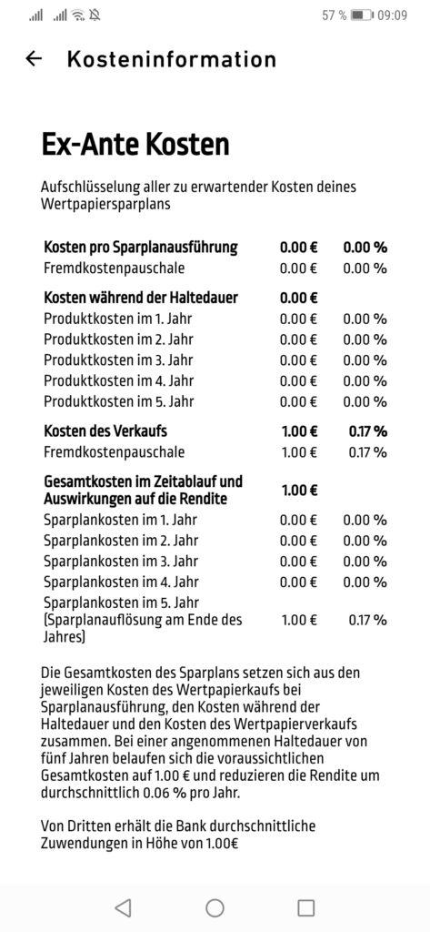Die Kosteninformation zum TradeRepublic Sparplan.